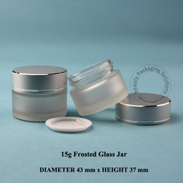 Wholesale packaging 15ml - 5pcs Lot Promotion15g Frosted Glass Cream Jar 1 2OZ Cosmetic Small Refillable Bottle 15ml Vial Facial Mask Container Packaging