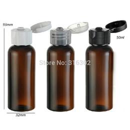 Wholesale Bottle Flip Tops - Free shipping - 50pcs lot 50ml amber pet bottle with flip top cap,50cc amber plastic bottle, 50ml cosmetic packaging