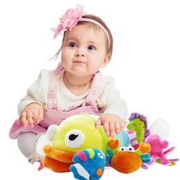 Wholesale Plush Sea - Wholesale- SHILOH SHILOH Soft Plush Stuffed 4 Sea Animals Family Model Toy Infants Baby Hand Toy Rattles High-Class Boy Girl Gift