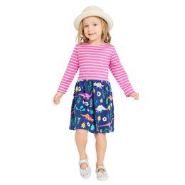 Wholesale Flower Duck - New Girls Dresses Big Children Clothing long Sleeve Cotton Cartoon Duck Flower Printed Cute Girl's Dress Cotton Casual Princess Wear A7412