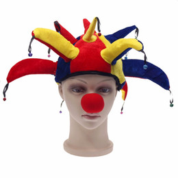 Wholesale Christmas Fashion Outfits - Funny Multicolor Halloween Hats And Caps Jester Clown Mardi Gras Party Costume Hat Adult Outfit Costumes