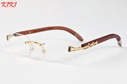 Wholesale High Quality Wooden Boxes - 2017 high quality bamboo wood sunglasses for men women buffalo horn glasses with box brand designer clear lenses blue pink black gold