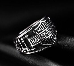Wholesale Bikers Rings - 316 stainless steel fashion NEW motorycycle biker letter ring band party mens ring biker ring size 7~15
