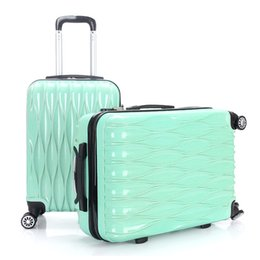 Wholesale Trunk Trolley Bags - High Quality 24''Women luggage travel bags trolley Girls Rolling Luggage ABS Pull Rod trunk rolling spinner wheels boarding bag