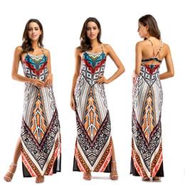 Canada Mode Bohème Style Ethnique Col Rond Sans Manches Patchwork Totem Imprimé Lâche Long Maternité Maxi Dress Pour Les Femmes Offre