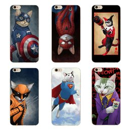 Wholesale Hard Case Cat Iphone - Cartoon Personality America Hero Cat Clear Hard Plastic PC Cell Phone Case for iphone 8 7 6S Plus 5S 5C 4S Back Cover