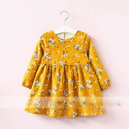 Wholesale Scarves Girls Baby Bow - Everweekend Girls Floral Ruffles Dress with Scarf Sweet Baby Fleece Lining Clothes Princess Yellow and Blue Color Autumn Clothes