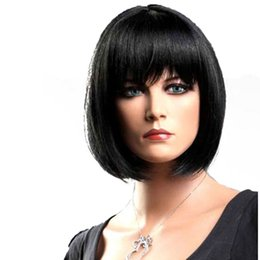 Wholesale Blonde Short Hair Styles - Short Straight Wigs Women's BOB Style Full Head Wig Heat Resistant Synthetic real Thick black brown blonde Hair