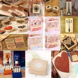 Almofadas de tinta artesanais on-line-Atacado- (24 estilos) DIY Scrapbooking selos caixa de madeira do vintage de borracha artesanato Ink Pad Inkpad Vintage Stamp carimbos