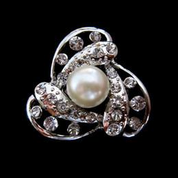 Broche de perlas individuales online-Cristal de Rhinestone transparente de 1,2 pulgadas y broche de perla único