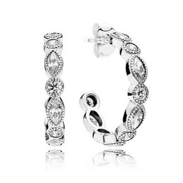 Wholesale New Authentic Sterling Silver Earring Alluring Brilliant Marquise Hoop Studs Earrings Compatible With Pandora Jewelry