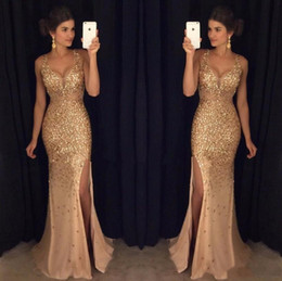 hot prom dresses splits Coupons - Hot Selling 2019 Gold Shinny Prom Dresses Sexy V Neck Cap Sleeves Beaded Sequins Side Slit Prom Dresses Formal Party Dresses DTJ