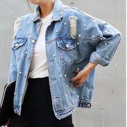 Wholesale Korean Girl Jackets - Wholesale- Real photo Long Sleeved Loose Large Size Women Korean Old Denim Coat Fashion hole beading Jean jacket brand for Mori Girl