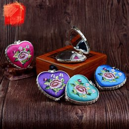 Wholesale Heart Shaped Compact Mirrors - Free Shipping Taobao Chinese Style Silk Embroidery two face Side Rectange pocket Cheap wedding favors heart shaped compact mirror