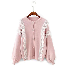 Wholesale Elegant Cardigan Women - 2017 Autumn and Winter Women Sweater Lace Spliced Short Knitting Open Stich Female Cardigans Laceness Elegant Fashion Sueter Sweater
