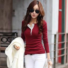 Wholesale Casual Shirt Korean - Korean Women Fashion Long Sleeve Button Cotton T Shirts Casual Slim Tops Blusa Female Summer Tee Shirt Plus Size