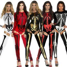 Wholesale Vampire Decorations - 2017 New Skeleton Zombie Costume Women Lady Cosplay Vampire Uniform Costumes Halloween Carnival Fancy Dress Party Decoration