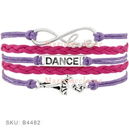Wholesale Customs Dance - Custom-Infinity Love Dance Wrap Bracelet Gift for Dancer Dancing Bracelet Blue Pink Red Purple Leather Suede Custom any Themes