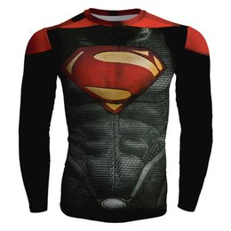 Wholesale Superman Man Steel - Superman T-Shirt Tights Men's Sports Gym Fitness Clothes Super Heroes Red Steel Body Spider-Man Riding Skincare Sports Long Sleeves