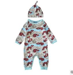 Wholesale Cute Infant Winter Clothes - New Cartoon infant romper 2017 Spring Fox Printed Long Sleeve Cotton Baby Boys Onesies Cute Cotton Toddler Jumpsuit boutique Clothes 7703