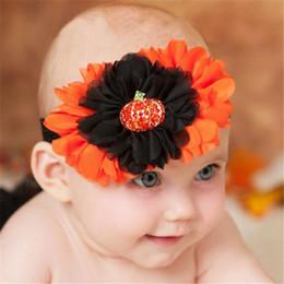 Wholesale Pumpkin Headbands - Chiffon Floral Headbands Flower Elastic Girls Baby Girls Princess Halloween Pumpkin Rhinestone Hairbands Children Hair Accessories DHL Free