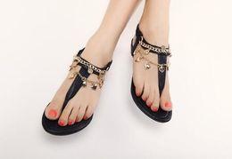 Wholesale American Gladiator - 2017 new European and American sweet Roman wind metal decorative flat fashion with flat sandals women