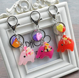 Wholesale Men Elephant Ring - High quality Acrylic candy color elephant keychain creative car key ring bag pendant small gift KR340 Keychains mix order 20 pieces a lot