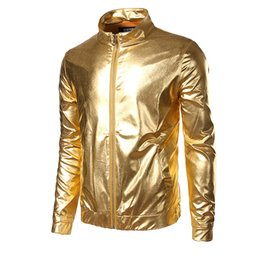Wholesale Gold Metallic Shorts - New Party Halloween Cool Men`s Gold Silver Jacket Coated Metallic Night Club Hip Hop Zip Up Stand Collar Shiny Coat For Hipster