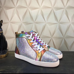 Wholesale Paris Crystal - New style luxury brand genuine leather sneakers high top with colorful crystal decoration paris style design red bottom causal flat shoes