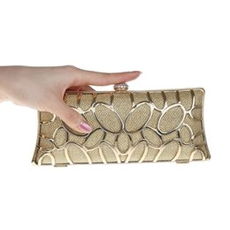 Wholesale Long Satin Bags - Wholesale- 2017 Luxury Women Gold Evening Bags Ladies Hollow Out Party Wallet Diamond Bridal Wedding Chain Hand Bag Long Purse bolso XA155H