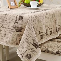 Wholesale Lace Table Cloth Wholesale - Eiffel Tower with Crown Pattern Tablecloth European Table Cover Multi Functional Cotton Line Lace Table Cloth