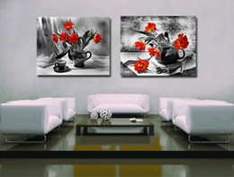 Wholesale Canvas Painting Set Two - 2 Pieces set Modern Canvas Painting Black and White Wall Art Painting Flower Picture Print On Canvas for living room Frameless