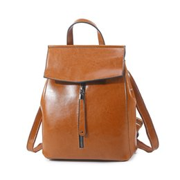 Wholesale Green School Bags - Genuine Leather Backpack Vintage Cow Split Leather Women Backpack Ladies Shoulder Bag School Bag for Teenage Girl