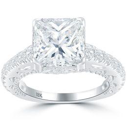 f161176273ac 5.48 F-SI1 diamante natural de corte radiante anillo de compromiso de oro  blanco de 18 k
