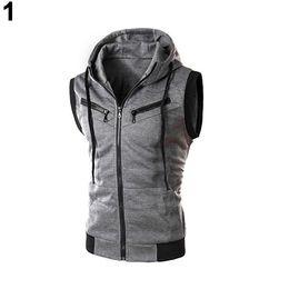 Wholesale Wholesale Men S Waistcoats - Wholesale- Men's Fashion s Drawstring Hooded Zipper Slim Fit Vest Waistcoat Outerwear