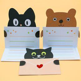 Tarjetas flash de animales online-ZG102 Venta al por mayor nuevas mini postales 9pcs / lot Animal Cards Tarjeta linda de la bendición del día de fiesta Tarjeta de mensaje del polvo de destello con el sobre