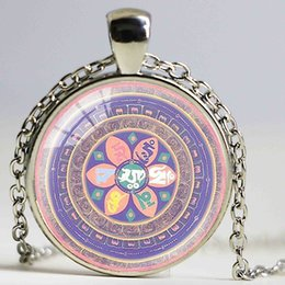 Wholesale Meditation India - Fashion vintage Om Necklace India Yoga Jewelry Buddhism Zen Meditation Mandala Necklace Art Photo Glass Cabochon Necklace