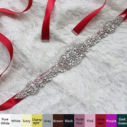 Wholesale Crystal Beaded Bridal Belts - 2017 Real Image Wedding Dresses Sash Bridal Belts Rhinestone Crystal Ribbon From Prom Evening Princess Handmade White Red Black Blush