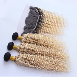Wholesale two tone hair 1b 613 - Two Tone 1B 613 Dark Root Ombre Virgin Human Hair Deep Curly 3 Bundles With 13*4 Blonde Ear to Ear Lace Frontal Closure