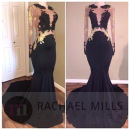 Wholesale Women Mermaid Ruffle Dresses - 2017 New Arrival Sexy Black Girl Mermaid Prom Dresses Sheer Neck Gold Applique Long Illusion Sleeves Women Evening Dress