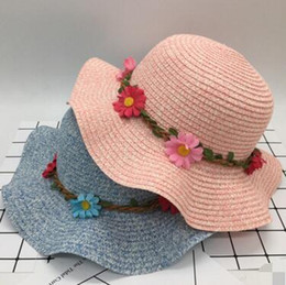 Wholesale Tie Fit Baby - Hot style Baby girl straw sun hats sunhats for kids wide brim beach hat Children caps Children Sunshade Cap 12 pcs free shipping