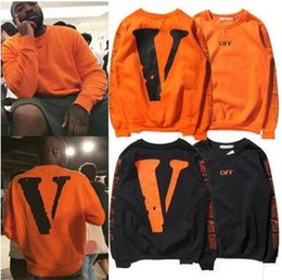 Wholesale Chi Long - Street tide brand off white joint large V printing rights Chi Long kanye paragraph sets of men and women plus cashmere sweater