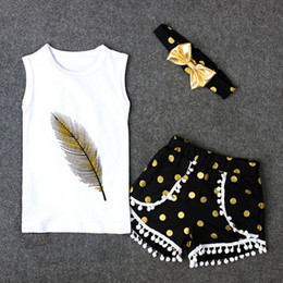 Wholesale baby feather set - New Children outfits girls cotton summer Bow headband+feather printing T-shirt+Dot tassel Pompon shorts 3pcs set baby suits