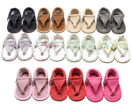 Wholesale Toddler Flip Flops Wholesale - 2017 Summer Baby Flip-Flops Pu Leather Tassel Sandals Moccasins Boy First Walker Baby Girls Sandals Soft Sole Toddler Pink Shoes
