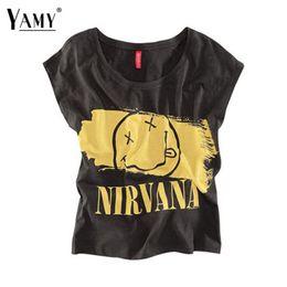 Wholesale Nirvana Smiley Shirt - Wholesale-2016 summer fashion casual t shirt women Nirvana smiley face letters print black hip hop punk t-shirt tops women Plus size