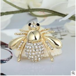 Wholesale Bee Cute - Fashion brooches han edition set auger cute little bee pin the new stones brooch both men and women two colors