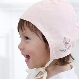 Wholesale Birds Hats - Sring Autumn Cute Baby cotton Hat Baby Bird Embroidery Sleep Caps for Girls boys Hats for 3-18 Months