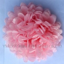 Wholesale Colorful Tissue Paper Flower Ball - Wholesale-10 inch (25cm) 3 pcs lot Wedding colorful tissue paper pompom party decoration Light Pink hand made paper flower ball