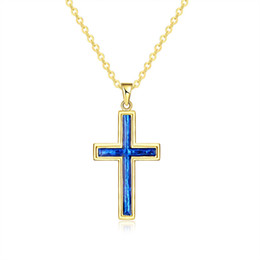 Wholesale Crystal Opal Cross Pendant - Christmas Gift Gold Plated Cross Pendant Blue Opal Crystal Rolo Chain Necklace for Women Free Shipping