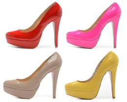 Wholesale Chunky Heel Platform Pump Design - New Sexy women 14cm Pumps various style thick bottom high heels design famous platform pumps dress wedding shoes Free shipping